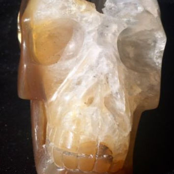"""LARGE Almost 5"""" Carnelian? AGATE Carved Crystal Skull, Very Realistic, Geode 2lb"""