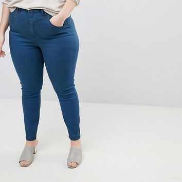 ASOS CURVE RIDLEY High Waist Skinny Jeans With Gia Styling In Freddie Dark Blue Wash at asos.com