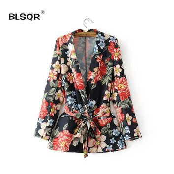 BLSQR Women Fashion Chiffon Floral Print Pockets Blazer V-neck Long Sleeves Belted Ladies Business Suits Casual Outerwear Coat