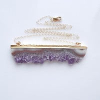 Druzy Amethyst Necklace - Slice Style - February Birthstone - Extra Large Size - BEST SELLER
