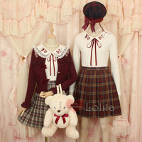 Lizlisa Cute Bow Coat and Followers Collar Shirt Set LK17091126 from lolita store