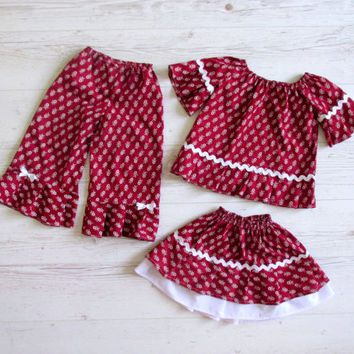 Girls Back to School Outfit,  Peasant Top, 3 Piece Ruffled Peasant Set
