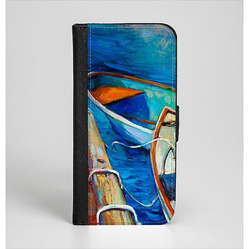 The Colorful Pastel Docked Boats Ink-Fuzed Leather Folding Wallet Case for the iPhone 6/6s, 6/6s Plus, 5/5s and 5c