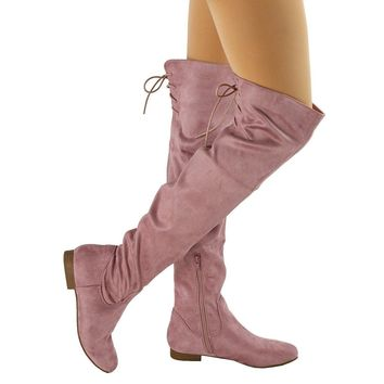 Women's Mauve Pink Faux Suede Knee High Flat High Heel Riding Boots