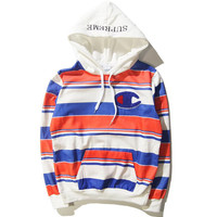 Trendy Unisex Supreme Striped Hooded Sweatshirt Pullovers Great Gifts