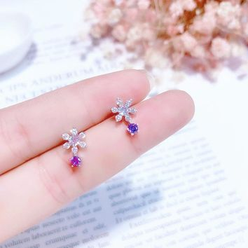 MENGJIQIAO 2018 New Delicate Shiny Zircon Snowflake Small Stud Earrings For Women Fashion Jewelry Crystal Boucle D'oreille Femme