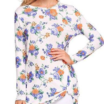 ELESOL Women Long Sleeve Floral T Shirts Knot Front Blouses Casual Tops Tees