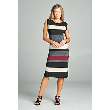 Striped Midi Dress - Burgundy