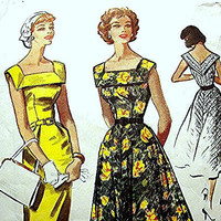 1950s Dress Pattern McCalls Misses size 18 Vintage Sewing Pattern Wiggle or Flared Skirt Dress