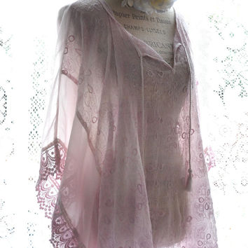 Lace poncho tunic, Shabby cottage chic blushing wrap, Long tunic top, Romantic country chic clothes, Funky clothing, True rebel clothing