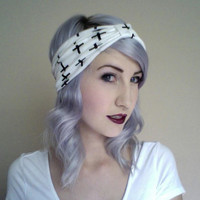 CROSS print black and white stretchy knit turban headband by ammeB