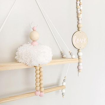 Nordic Style Ballet Dancer Hanging Decoration Wooden Beads Girl Room
