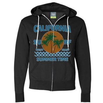 California Summer Time Knit Style Zip-Up Hoodie