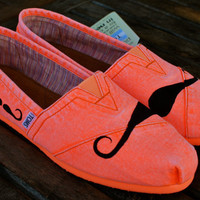 Orange Mustache TOMS shoes