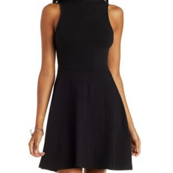 Black Mock Neck Sleeveless Skater Dress by Charlotte Russe