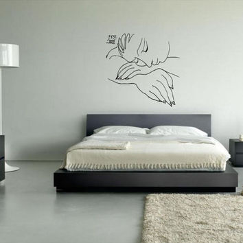"Wall Art inspired by Picasso's ""War and Peace"" vinyl wall decal - removable wall sticker for your minimalistic space decor"