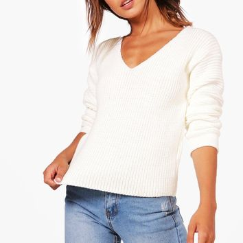 Petite Teri Ruched Sleeve V Neck Jumper | Boohoo