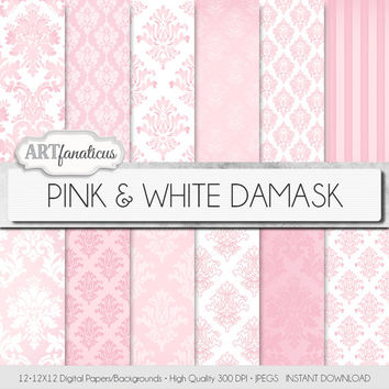 "Damask digital paper ""PINK & WHITE DAMASK"" elegant, pink, white, damask for weddings, baby shower, scrapbooking, invites, cards, home décor"