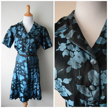 50s Blue Floral Damask Silk Shirtwaist A-Line Dress // Italian Handmade Fashion, Mad Men Betty Draper Style // Sz S/M