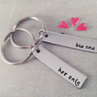His and Her Valentines Key Rings