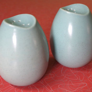 Vintage Monterey California Pottery Speckled Blue Salt and Pepper Set