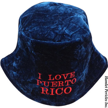 Blue Crushed Velvet Bucket Hat | I Love Puerto Rico Embroidered Hat | Boricua | Puerto Rico Crushed Velvet Hat | Sun Hat by Hamlet Pericles