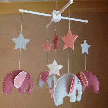 Baby Mobile - Cot Mobile - Elephant mobile - pink and grey elephants - Nursery Decor - Baby girl Mobile - Baby Boy Mobile
