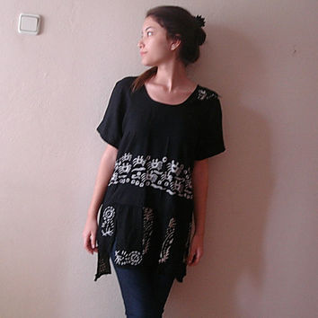 Shabby chic Black top recycled upcycled cotton asymetric blouse