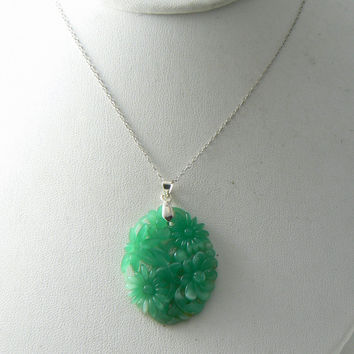Vintage Jade Glass Floral Pendant, White G.f. Chain Necklace