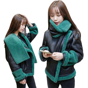 Amazing Winter Wool Leather Jacket Woman Special Turtleneck Design Lambs Woolen Pu Leather Coat Loose Thicken Outerwear SS774