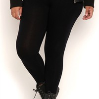 Plus Size Reversible Skinny Leg Yoga Pants with Leopard Waistband Mobile