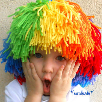 READY TO SHIP-Clown Wig Child Halloween Costume Red Yellow Blue Orange Green Purple Rainbow Hat