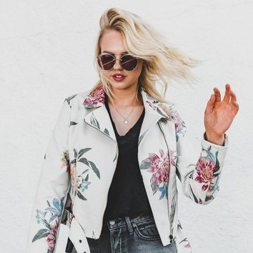 Festival Floral Vegan Leather Jacket - Ivory