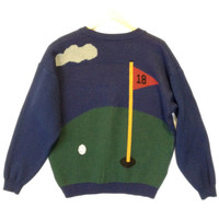 Men's Wool Blend Golf Cardigan Tacky Ugly Sweater - The Ugly Sweater Shop