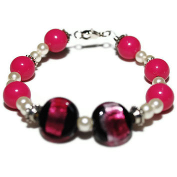 OOAK Pretty In Pink Bracelet by chumaka on Etsy