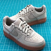 Nike Air Force 1 Low Af1 Grey Suede Sport Shoes - Best Online Sale
