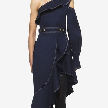 Blue One Shoulder Ruffle Trim Long Sleeve Asymmetric Dress
