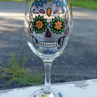 SUGAR SKULL hand-painted wine glass WITH STEM (BLUE FLOWERS)