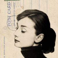 Audrey Hepburn Sketch on Vintage Postcard Art Print by Amy Hamilton