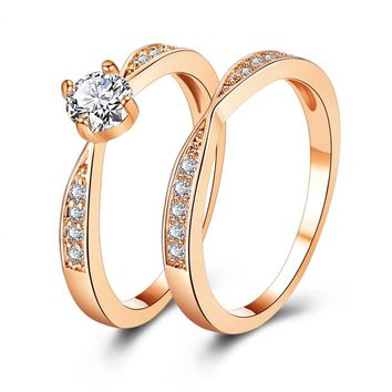 17KM Rose Gold Wedding Rings Jewelry Cubic Zirconia Ring for Women Rings Set Female Engagement Party Statement Jewelry Gift