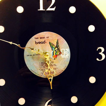 """Vinyl Record Clock, Wall Clock, The Best of Bread, Record, Recycled Music Record, 12"""" Record, Battery & Wall Hanger included, Item #2"""
