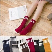 Free Shipping Women Japanese High School Girls  Socks High Quality Loose Solid Colors Double Needles Knitting Cotton Long Socks