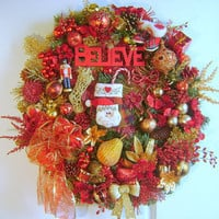 Christmas Believe Wreath Decoration - Free Shipping