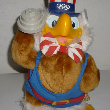 Vintage USA Olympics Sam The Eagle With A Barbell Plush Animal