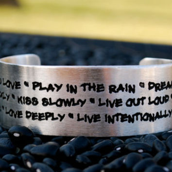 Live Intentionally Rustic Cuff 'Do what you love Play in the rain' by RusticCuff