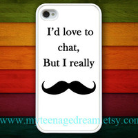 iphone 4 case, iPhone 4s Case, iPhone 4 Hard Case, I Love Mustache white iPhone Case hard case for iphone 4, iphone 4S