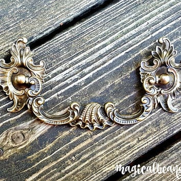 KBC Drop Bail Pulls Victorian Furniture Pulls French Country Dresser Pulls Antique Brass Drawer Pulls Antique Gold Drawer Pulls & Rosettes