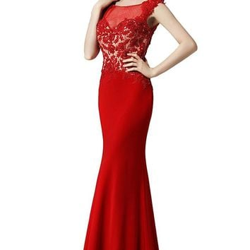 US Mermaid Appliques Prom Dresses Sheer Neck Bridesmaid Dress Lace Sleeveless