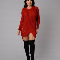 Unraveled Sweater - Red