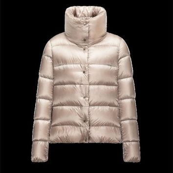 Moncler BOURDON Shiny Turtleneck Beige Jackets Techno Fabric Womens 41456717LJ
